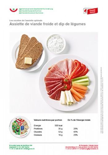 Assiette de viande froide et dip de légumes
