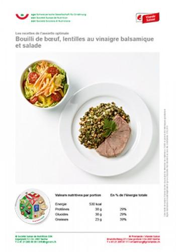 Bouilli de boeuf, lentilles au vinaigre balsamique et salade