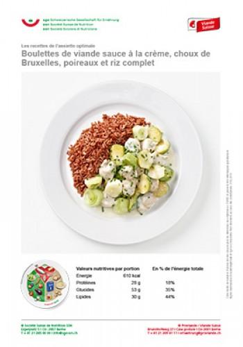 Boulettes de viande sauce à la crème, choux de Bruxelles, poireaux et riz complet