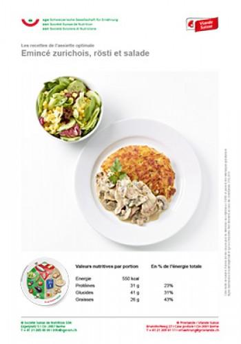 Emincé zurichois, rösti et salade