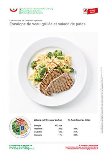 Escalope de veau grillée et salade de pâtes