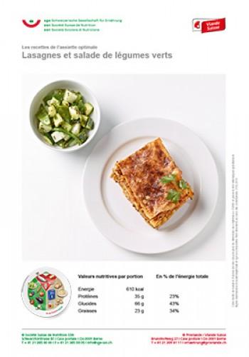 Lasagnes et salade de légumes verts