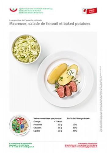 Macreuse, salade de fenouil et baked potatoes