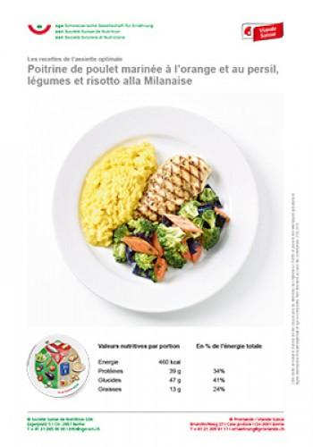 Poitrine de poulet marinée à l'orange et au persil, légumes et risotto alla Milanaise
