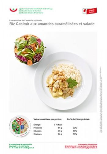 Riz Casimir aux amandes caramélisées et salade