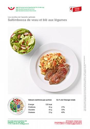 Saltimbocca de veau et blé aux légumes