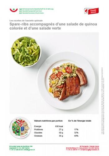 Spare-ribs accompagnés d'une salade de quinoa colorée et d'une salade verte